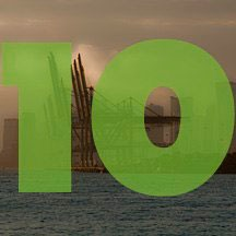 the number 10 superimposed over picture of dock cranes