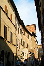 streetscape in Pienza, Italy