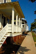 front porches along sidewalk in the Waters, near Montgomery, Alabama