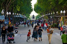 rambla with many people walking, flanked by post lamps and large trees, in Tarragonna, Spain