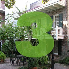 the number 3 superimposed over a picture of a courtyard in the French Quarter of New Orleans