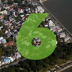 the number 6 superimposed over an aerial picture of Charleston south of Broad Street