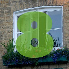 the number 8 superimposed over a picture of a window in a stone wall in Bourton-On-The-Water in the Cotswolds of England