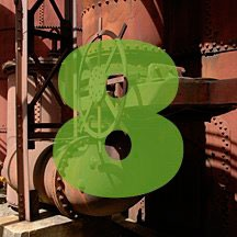 the number 8 superimposed over picture of industrial equipment at Schloss Furnaces in Birmingham, Alabama