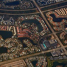 aerial photo of gated subdivision