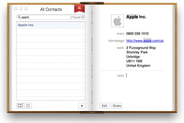 Macintosh address book screen shot