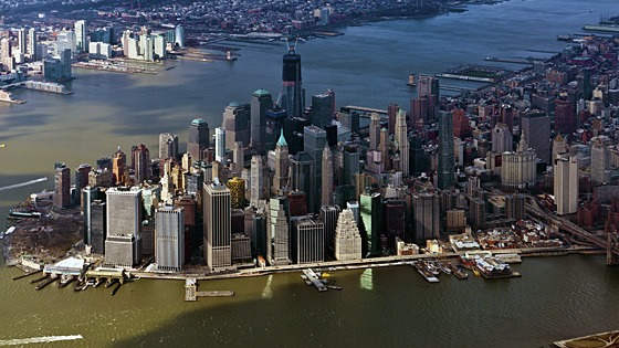 aerial photo of New York City's Wall Street & battery park