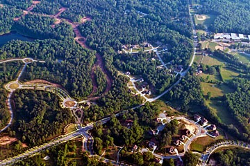 aerial view of sprawling subdivision near Atlanta