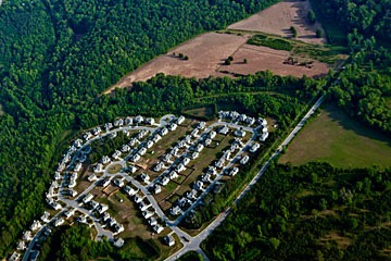aerial photo of sprawl subdivision in countryside outside Atlanta