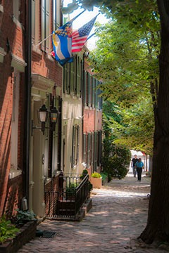 townhouses ascending a sloping tree-lined street in Alexandria, Virginia