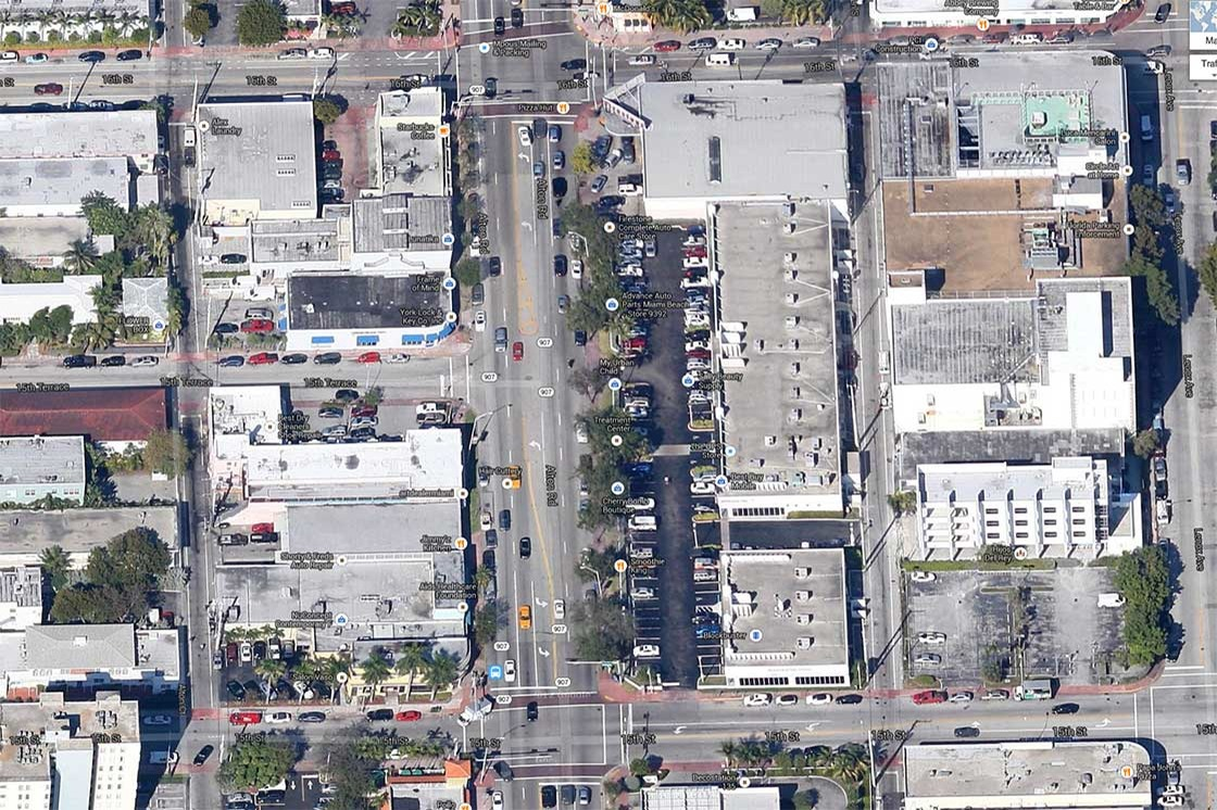 satellite photo of Alton Road intersections