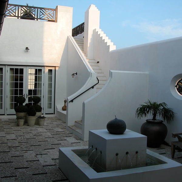 the very first house built in Alys Beach still serves as the sales office