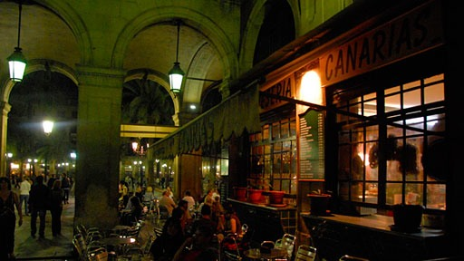 night shot of cafe just outside of Plaça Reial in Barcelona