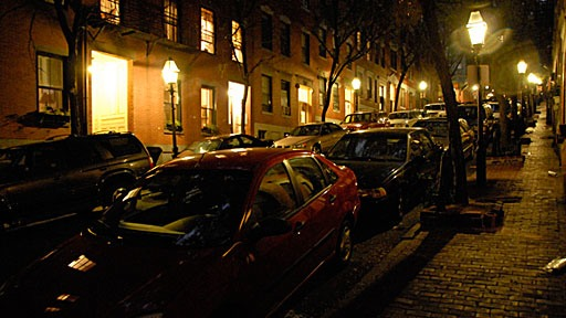 night shot of Beacon Hill street in Boston