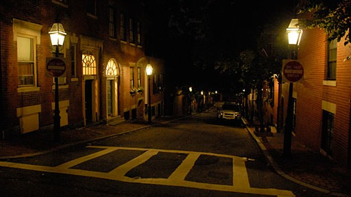 night shot of street on Beacon Hill in Boston