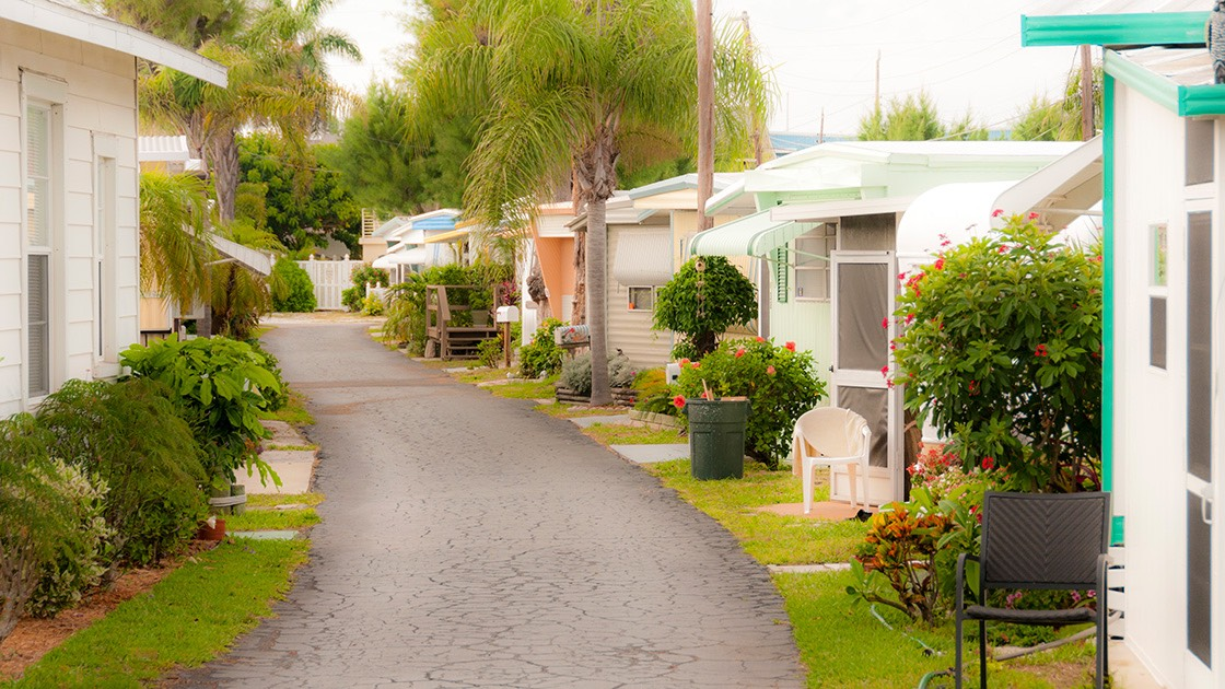 neat, almost festive mobile home community just off the water in Bradenton Beach, Florida