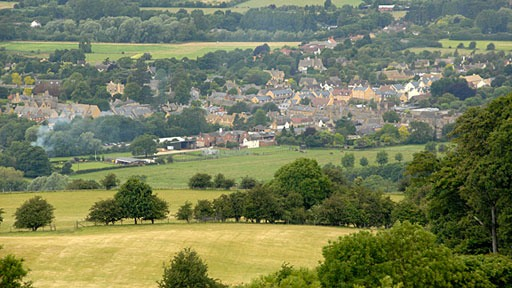 view of Broadway in the Cotswolds from high land