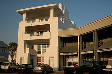 Art Deco-influenced building on Seaside, Florida's Central Square was designed by Scott Merrill