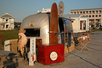 Airstream trailer as food cart at Seaside, Florida in late afternoon light