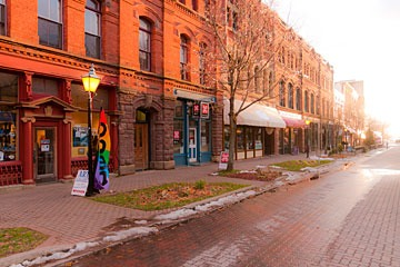 Charlottetown Prince Edward Island PEI commercial street main street at sunset