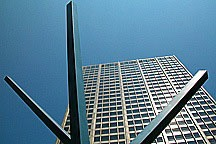Modernist sculpture in front of Chicago highrise