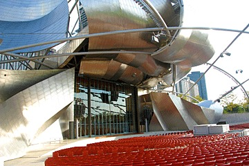 stage view of Frank Gehry's Millennium Park amphitheater in Chicago