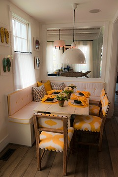 dining booth in 2011 Coastal Living Idea House, East Beach Norfolk, Virginia