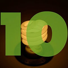 the number 10 superimposed over picture of a compact fluorescent light bulb