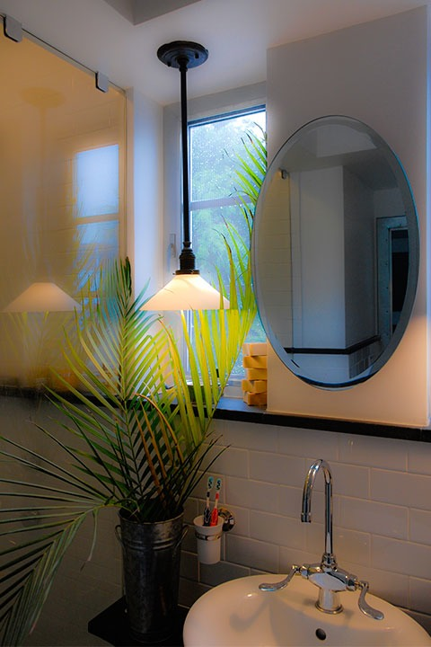 palm leaves flow between light fixture and oval mirror on bathroom wall, with shower glowing softly to the left