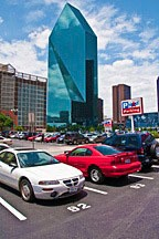 Downtown Dallas parking lot - seas of parking make walking highly unlikely