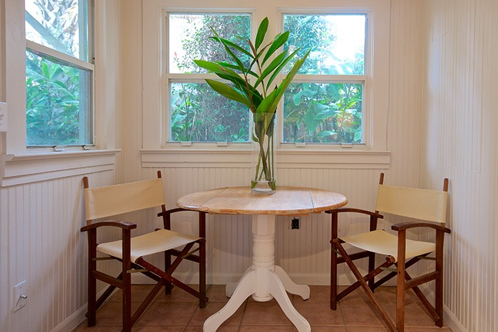 all-white alcove is perfect for breakfast for two in this Neptune Beach airbnb suite