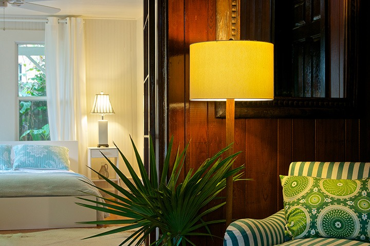 casual green-striped lounging chair and palmetto leaf lit softly in the glow of a lone lamp set against dark-stained wood wall boards
