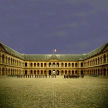 Paris courtyard with soldiers assembled