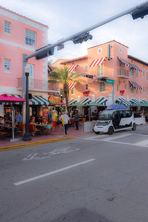 Espanola Way meets Washington Avenue on South Beach bathed in late afternoon sun