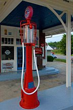 antique gas pump at historic gas station in Florala, Alabama