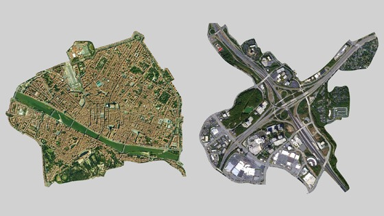 aerial image of Florence, Italy beside Atlanta interstate interchange, both at the same scale
