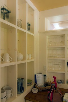 open walls with shelves in 2001 Coastal Living Idea House, Habersham, South Carolina