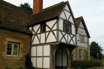 Tudor buildings in English heritage town of Lacock