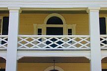 porch detail of mansion on High Street in Mooresville, Alabama