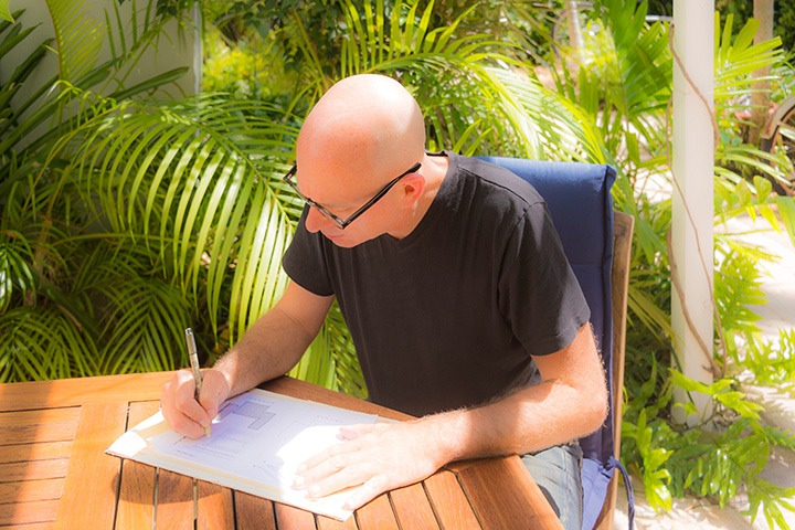 "working in my outdoor ""drawing room"" in our tropical paradise of a garden room"