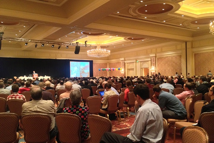 view across the crowd as Andrés Duany delivers the Thursday morning plenary at CNU21 in Salt Lake City
