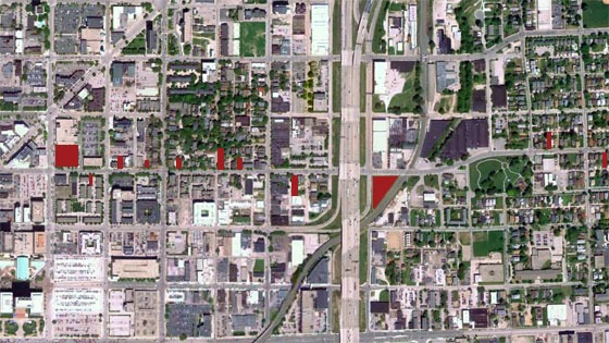Indianapolis sample area with properties in red