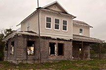 rotting house in failed subdivision in Inlet Beach, Florida