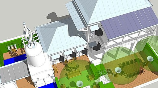 aerial rendering of SmartDwelling I, with hot water solar collectors forming roof of Solar Shed and photovoltaic collectors forming upper porch roof