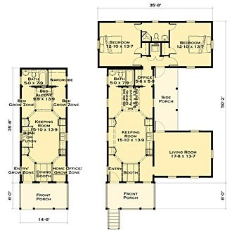Katrina Kernel Cottage floor plans showing Kernel Cottage by itself, and with additions