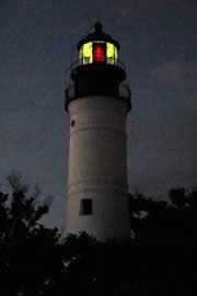 night shot of lighthouse in Key West