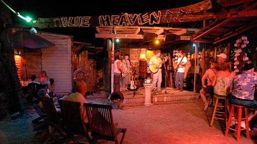 band playing into the night for customers at Blue Heaven restaurant in Key West, Florida