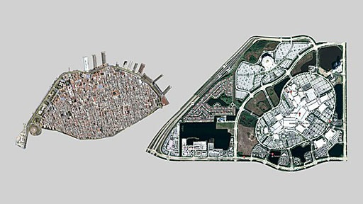 scale comparison of Old Havana (La Habana Vieja) with Sawgrass Mills Mall