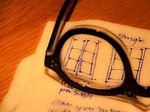 lens of eyeglasses through which napkin sketches are visible