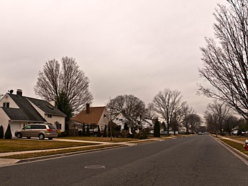 streetscape in Levittown, New York
